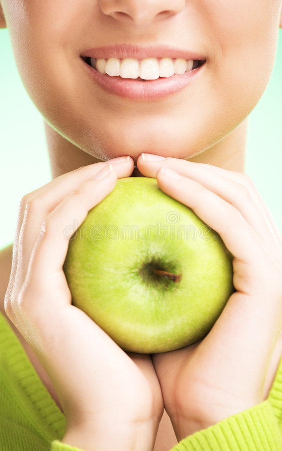 Download Young Beauty Woman With Apple Stock Image - Image: 9043749