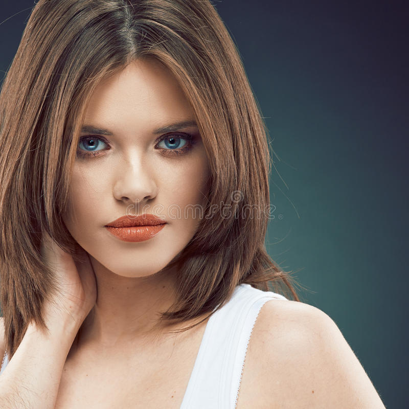Download Young Beauty Woman Face. Long Hair Stock Photo - Image: 43454948