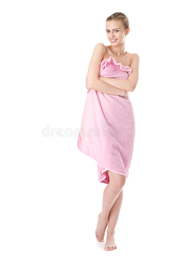 Young beauty woman in towel. On white background stock photo