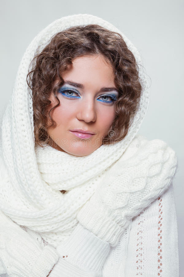 Young beauty woman in winter clothes royalty free stock photos