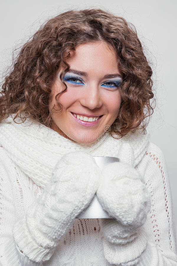 Young beauty woman in winter clothes stock image
