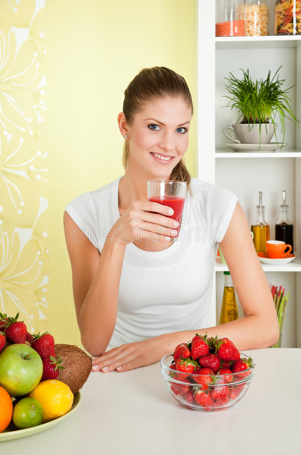 Free Young Beauty Woman With A Glass Of Strawberry Juic Stock Photography - 14703172