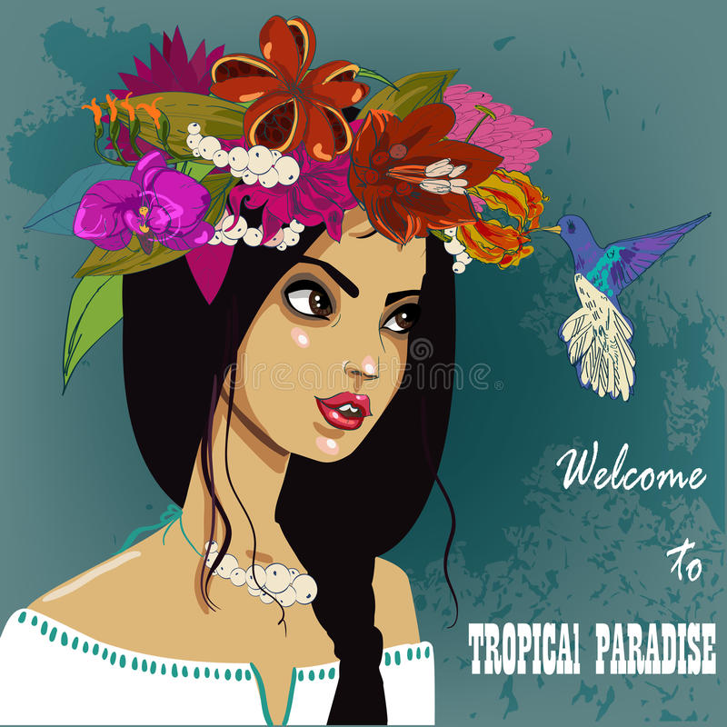 Young beautyful brunette vector illustration