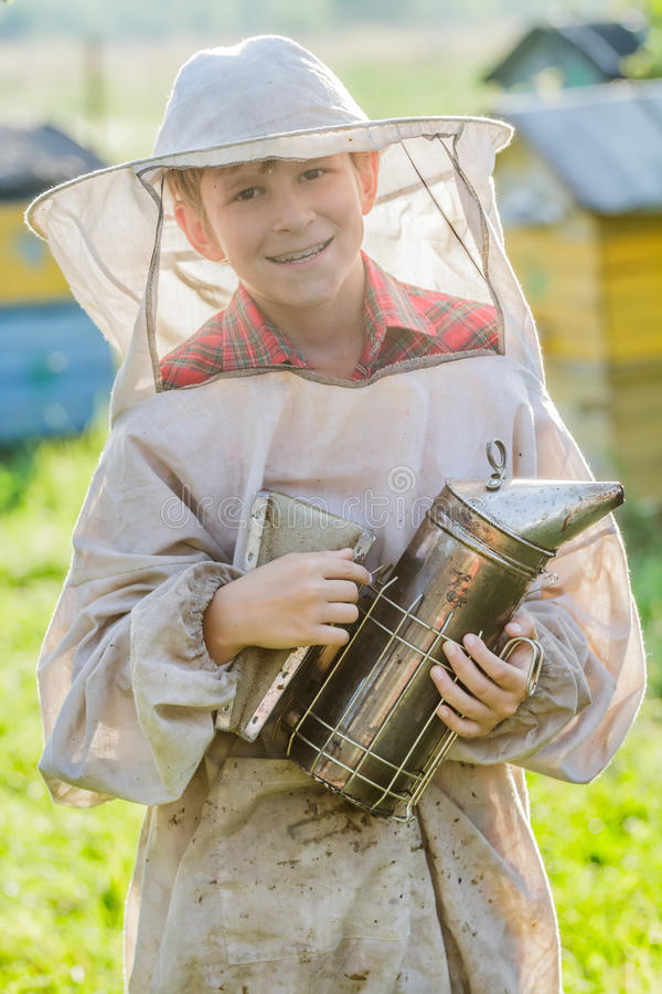 Young beekeeper checking hives on bee yard stock image