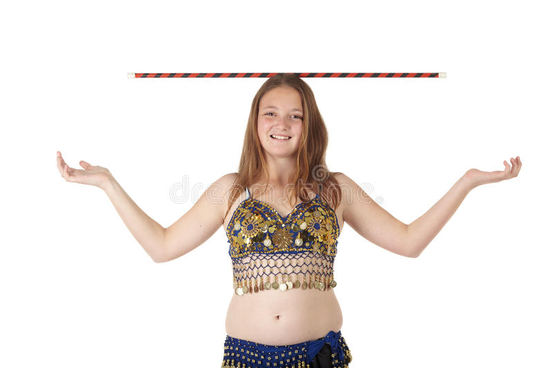 Young Attractive Girl In A Blue Suit Dancing Belly Dance