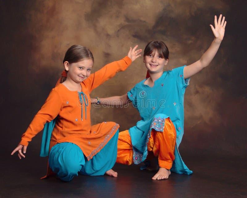 Young Bhangra Bollywood dancers stock photos