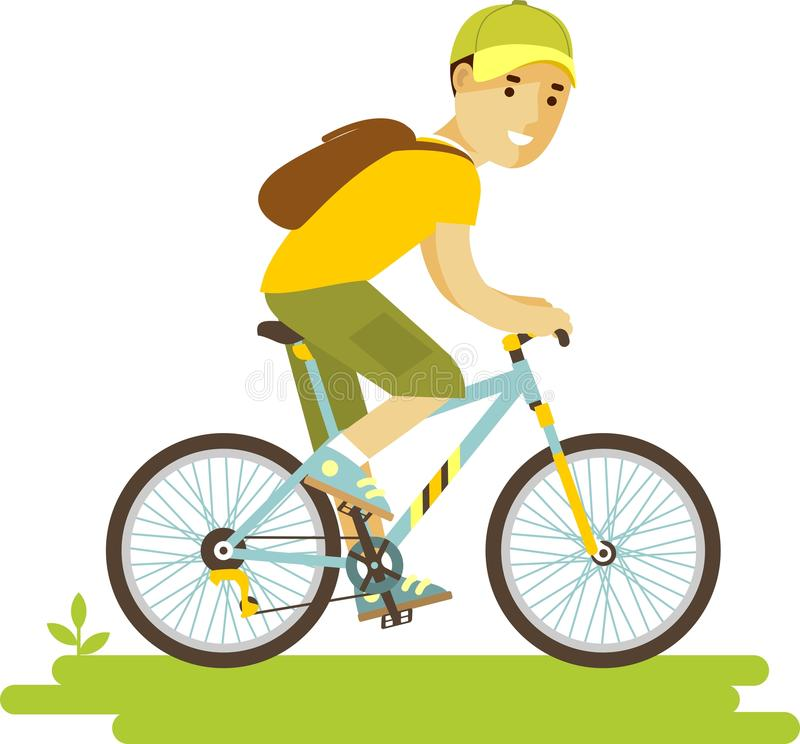 Young bicycle rider man with bike in flat style royalty free illustration