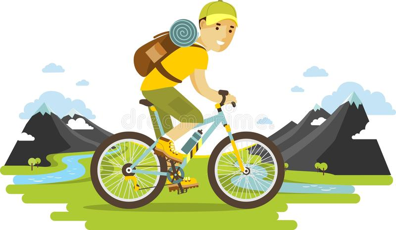 Young bicyclist man riding a bike on mountain background. Bicyclist traveler with backpack riding a bike on mountain background in flat style vector illustration