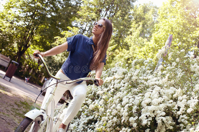 Young bicyclist stock photo