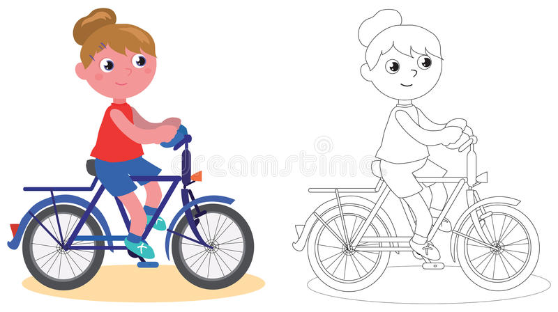 Young biker girl isolated and coloring vector illustration