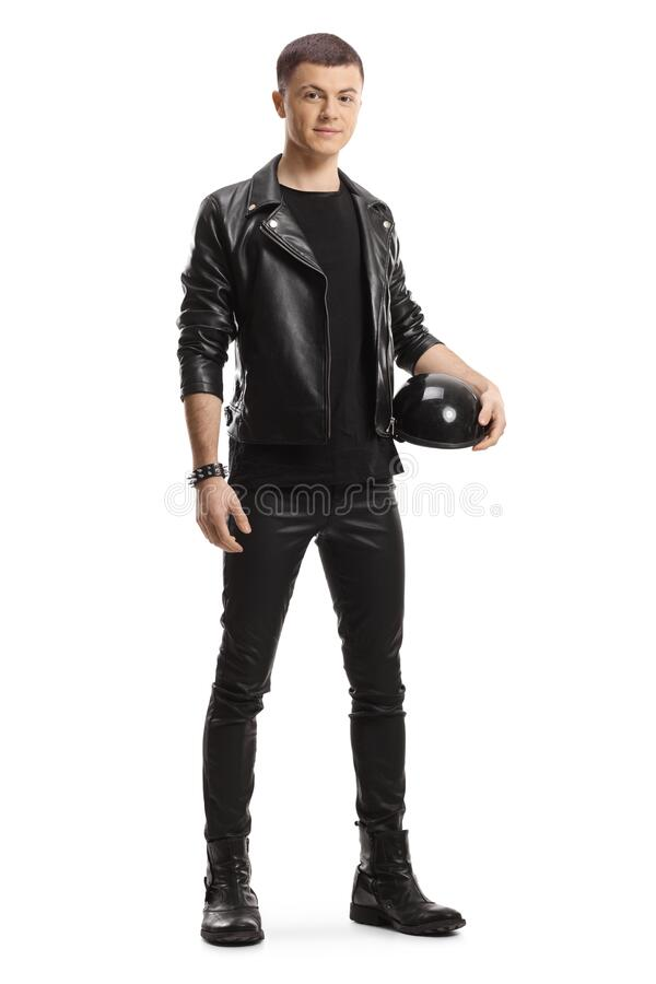 Free Young Biker In A Leather Jacket Holding Motorbike Helmet Royalty Free Stock Photography - 214138267