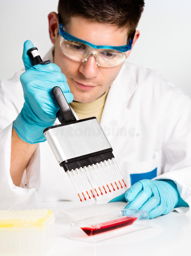Young Biologist Sets Up Reaction Stock Images