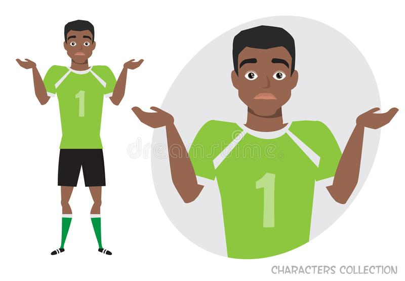 Young black african american football player doubt, no ideas. Emotion of uncertainty and confusion on soccer player face vector illustration