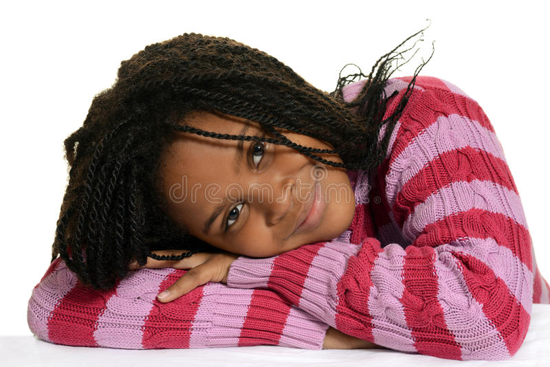 Download Young Black Child With Head On Arms Stock Photo - Image: 35650444