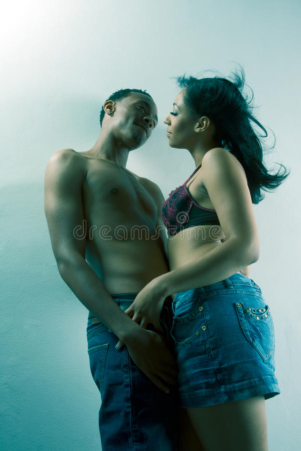 Young Black Couple Man And Woman In Love Stock Photos