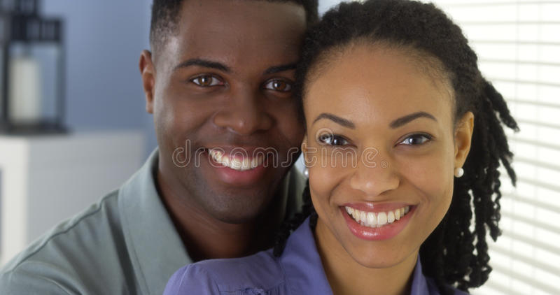 Young black couple smiling stock photo