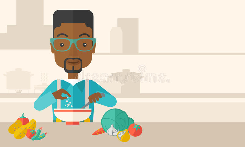 Young black guy is eating salad for lunch in the vector illustration