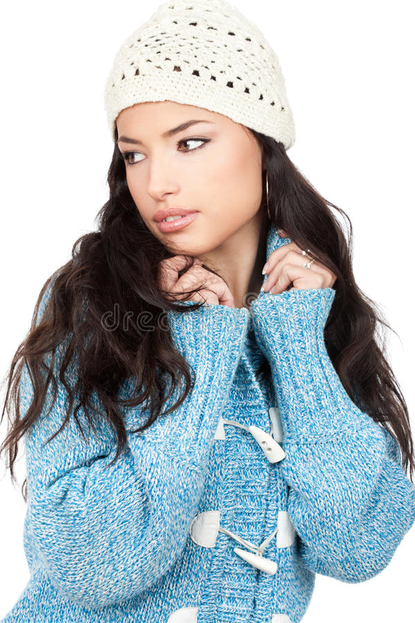Download Young Black Hair Woman In A Blue Wool Sweater Stock Image - Image of young, attractive: 22417631