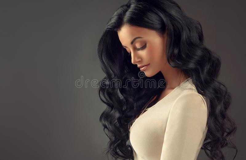 Young black haired woman with voluminous, shiny and wavy hair. Beautiful model with long, dense and curly hairstyle. Frizzy hair. Portrait in profile stock photography