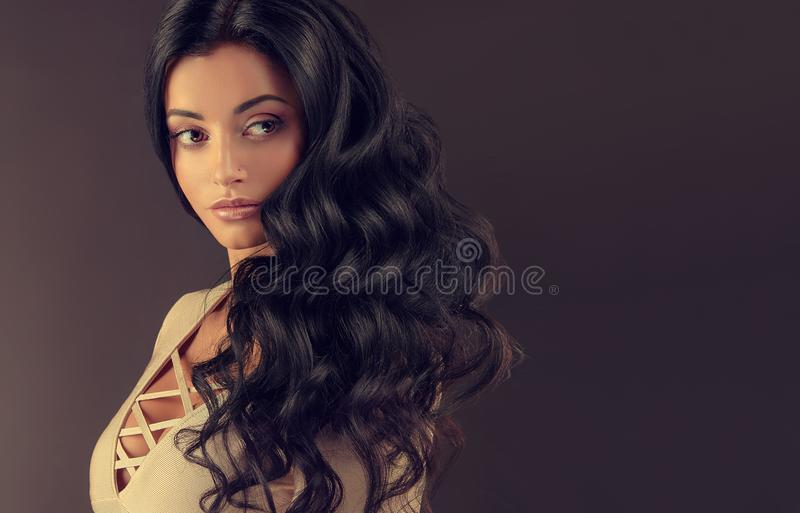 Young black haired woman with voluminous, shiny and wavy hair. Beautiful model with long, dense and curly hairstyle. Frizzy hair royalty free stock photo