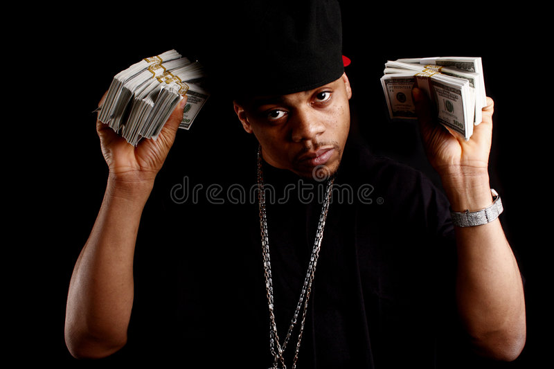 Young black male with cash stock image