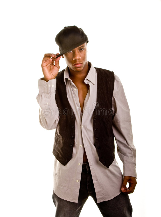 Young Black Man Holding Hat Brim royalty free stock image