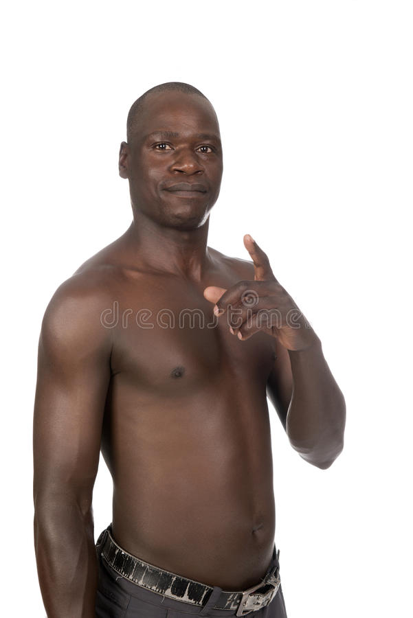 Young Black Man With Naked Upper Body Stock Photo Image Of Power