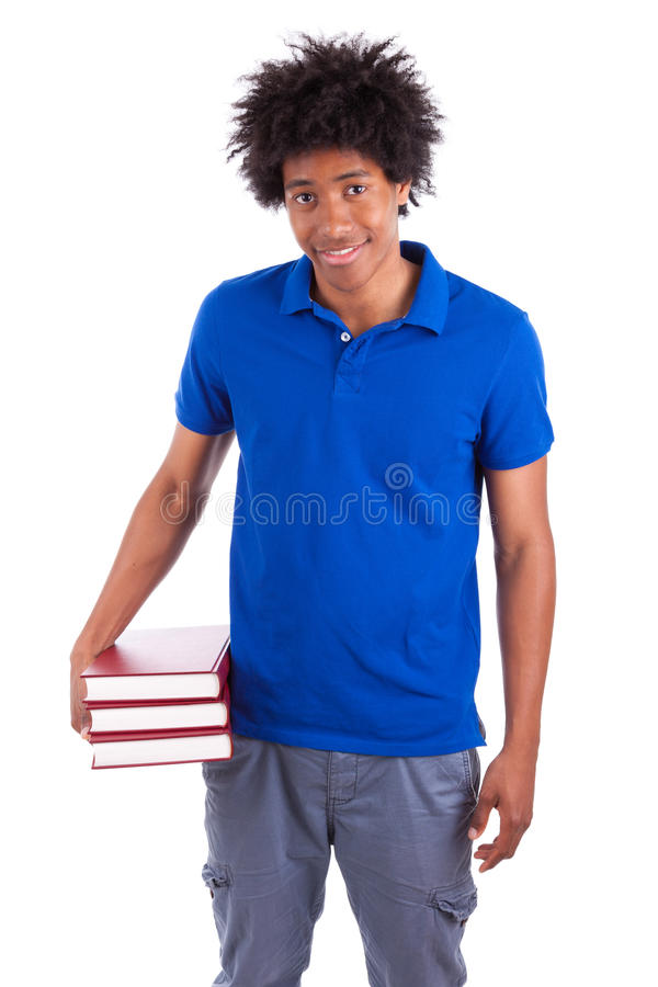 Young black teenage student men holding books - African people. Young black teenage student man holding books, isolated on white background - African people royalty free stock images