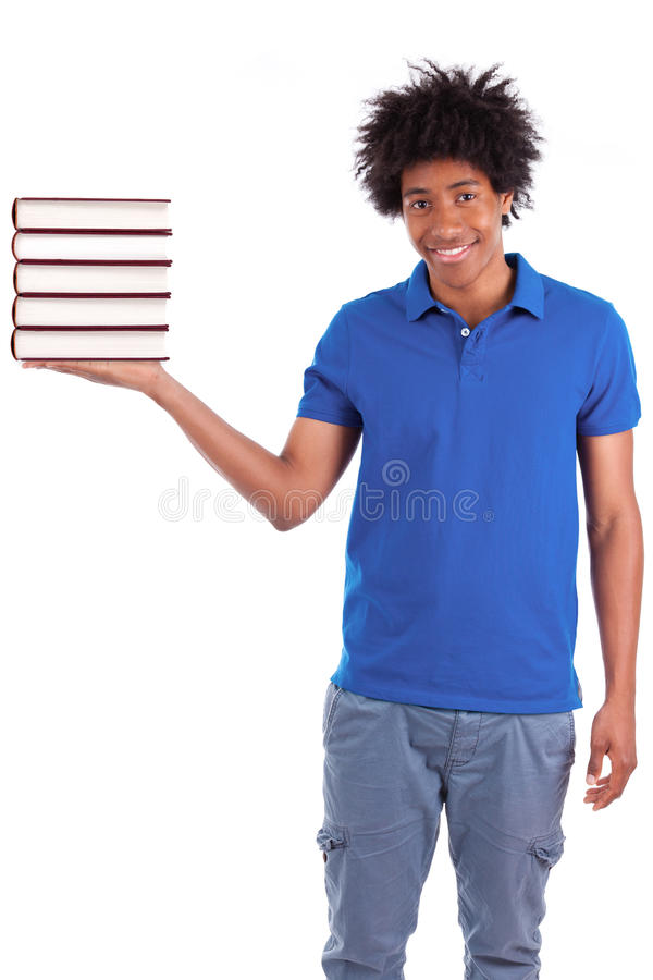 Young black teenage student men holding books - African people. Young black teenage student man holding books, isolated on white background - African people royalty free stock photo