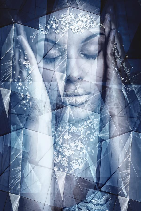 Young black woman artistic portrait double exposure. Young black woman artistic fantasy portrait double exposure royalty free stock photo