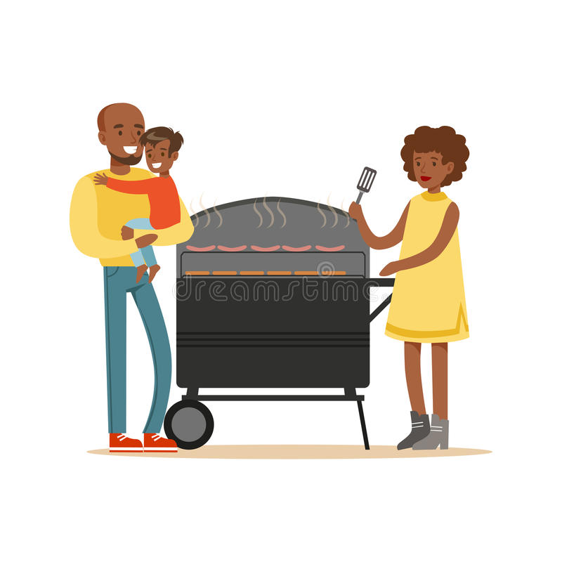 Young black woman grilling sausages on a grill for her family vector Illustration vector illustration