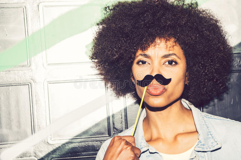 Download Young Black Woman Having Fun With A Fake Mustache Stock Photo - Image of costume  sc 1 st  Dreamstime.com & Young Black Woman Having Fun With A Fake Mustache Stock Photo ...