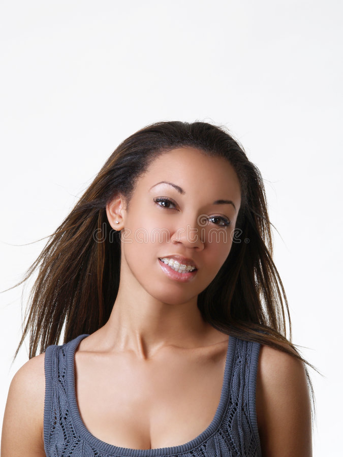 Young black woman portrait with braces stock image