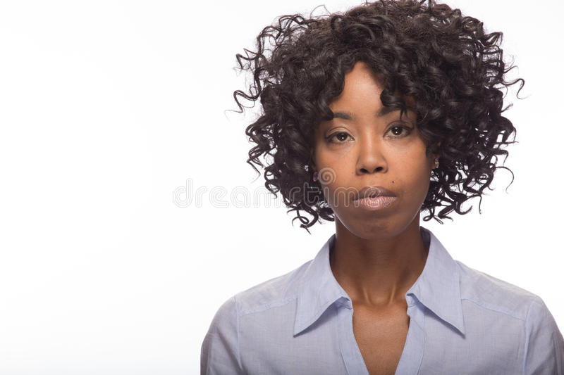 Young black woman serious face portrait royalty free stock photo