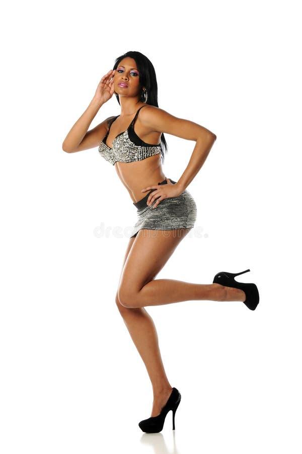 Young Black Woman wearing a mini skirt
