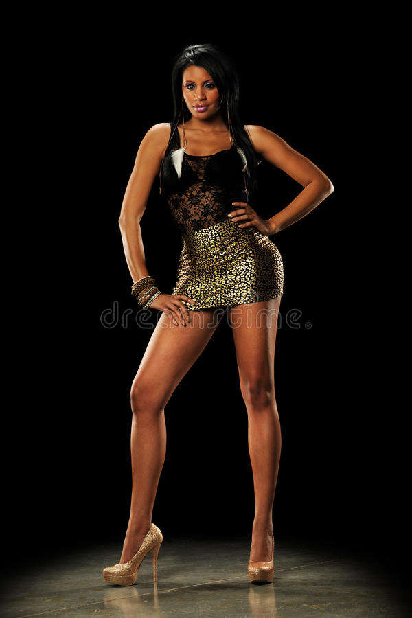 Young Black Woman wearing a mini skirt stock photo
