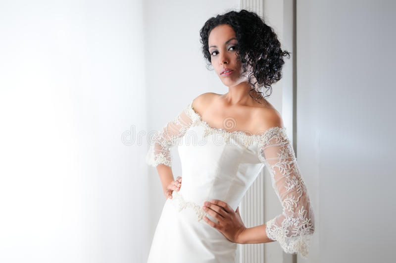 Young black woman with wedding dress royalty free stock images