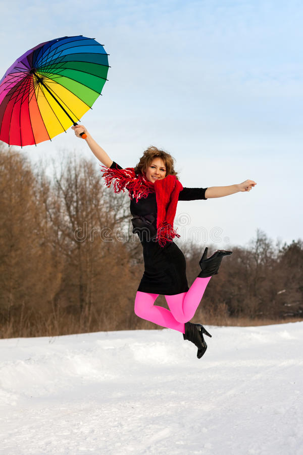 Download Woman With Color Umbrella In Winter Stock Images - Image: 29731654