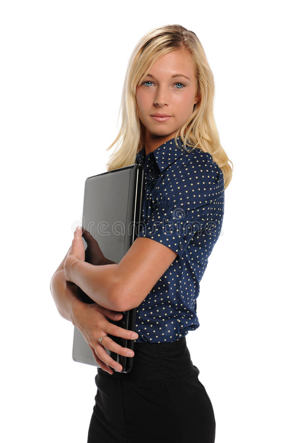 Download Young Blond Businesswoman With Laptop Computer Stock Photo - Image: 25890710