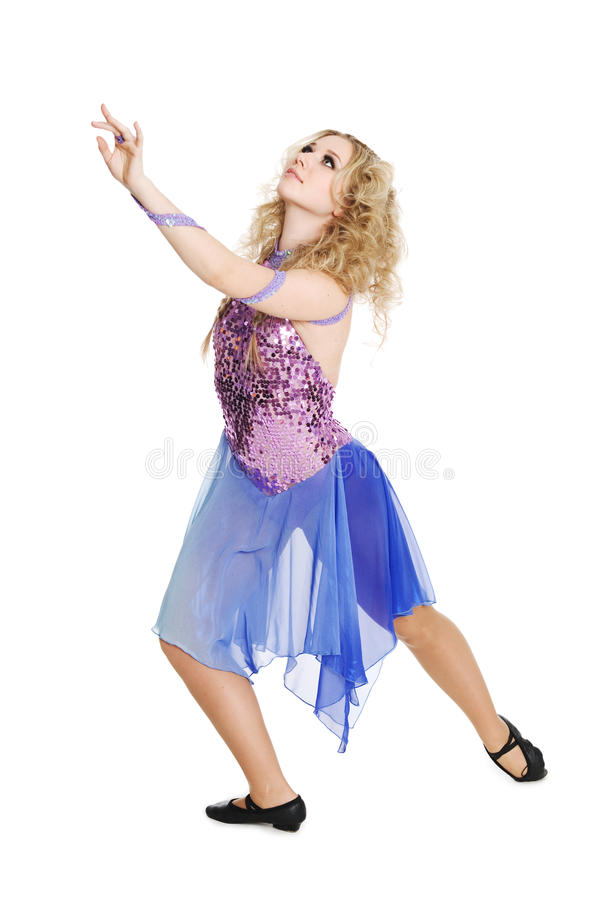 Young blond girl in dance. royalty free stock photography