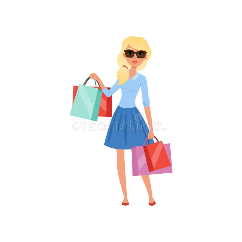 Young blond girl holding lots of colorful shopping bags. Pretty woman in sunglasses, blue blouse and skirt. Flat vector stock illustration