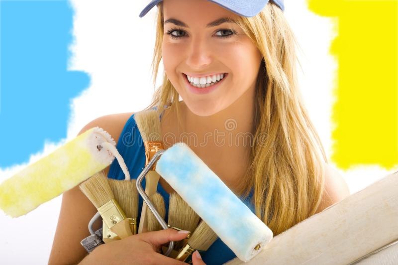 Young blond girl smiling stock photos
