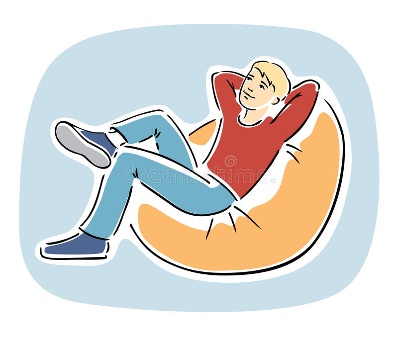 Young Blond Guy Resting On A Bean Bag Chair Stock Vector