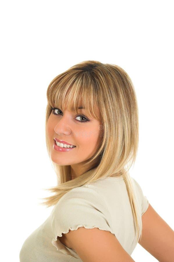 Young blond hair girl posing stock photos