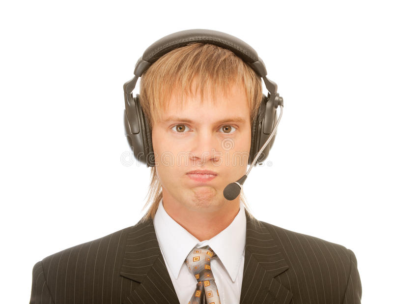 Young blond man in headset