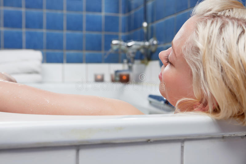 Young blond relaxed women stock photo