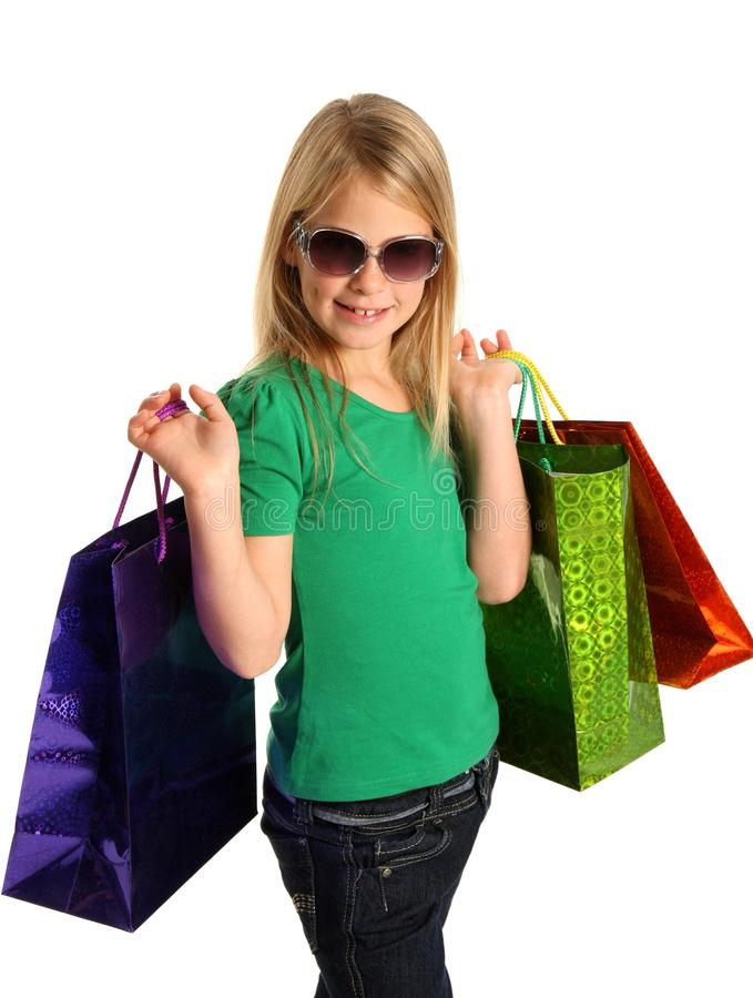 Young Blond Shopping Girl royalty free stock photos