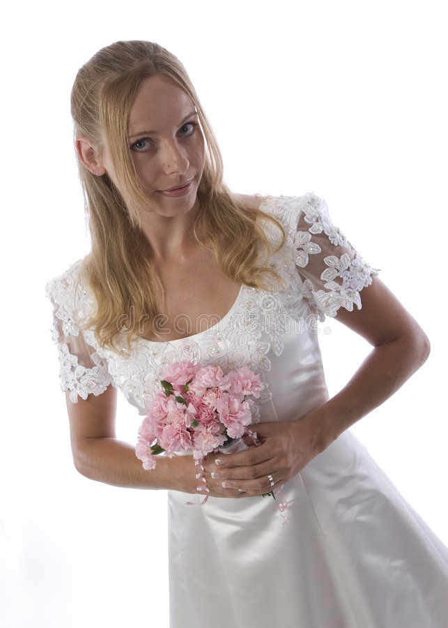 Young blond in wedding dress royalty free stock image