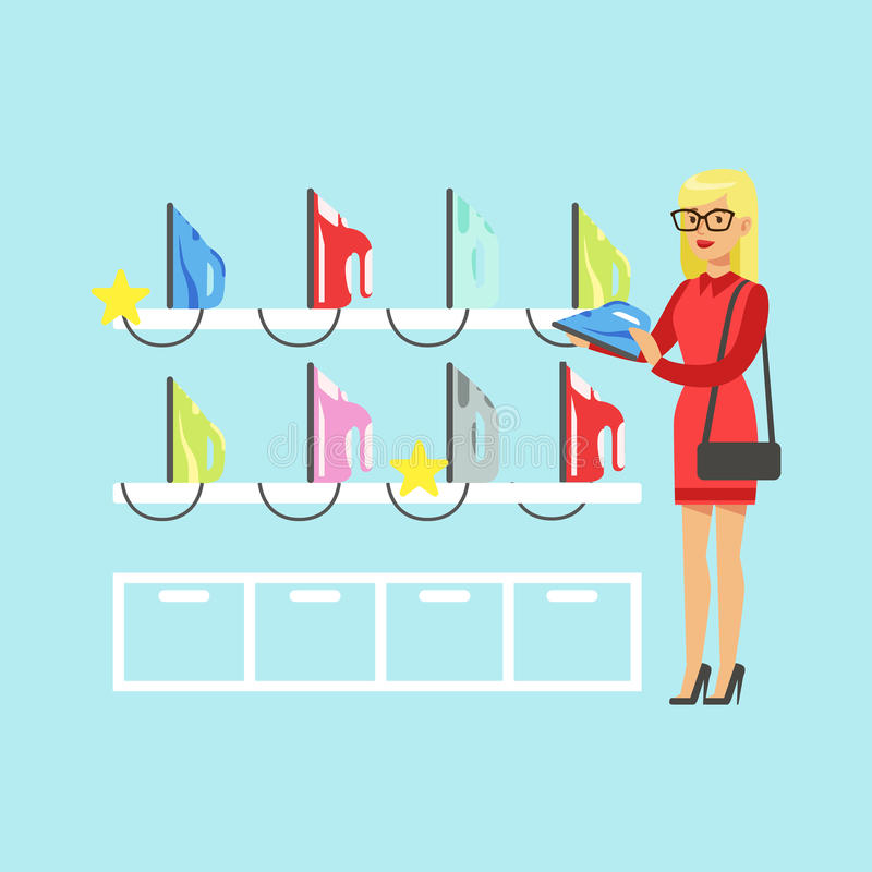 Young blond woman choosing an iron in home appliance store colorful vector Illustration stock illustration
