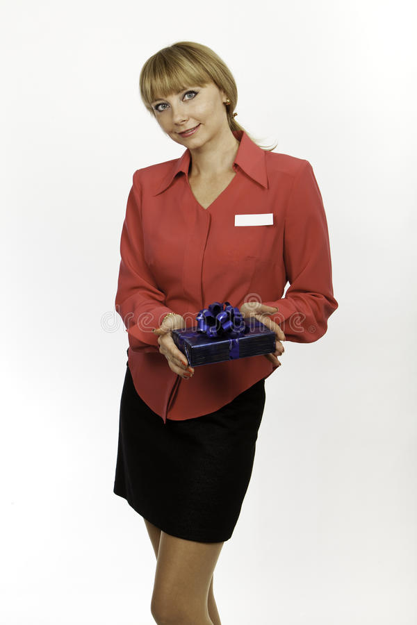 Download Young Blond Woman Consultant Welcomes Stock Image - Image: 32640057